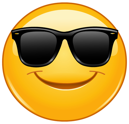 sunglasses cartoon: Smiling emoticon with sunglasses