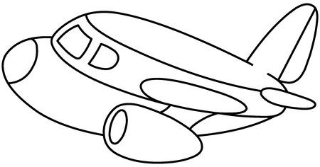 private jet: Outlined plane. illustration coloring page. Illustration