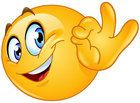 smiley faces: Emoticon showing ok sign