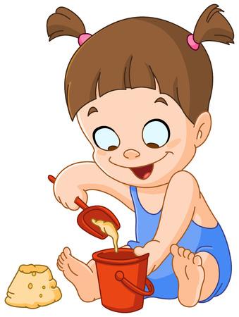 maillot de bain: Petite fille jouant avec du sable Illustration