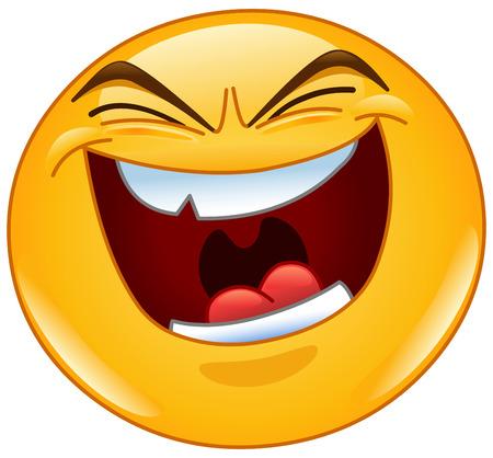 Emoticon with evil laugh Vectores