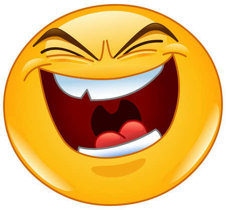 Emoticon with evil laugh Çizim
