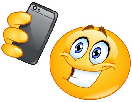 Emoticon taking a selfie