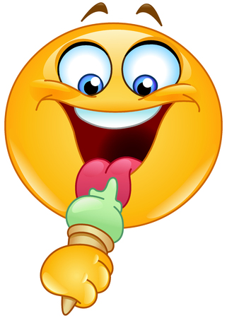 Emoticon eating an ice cream