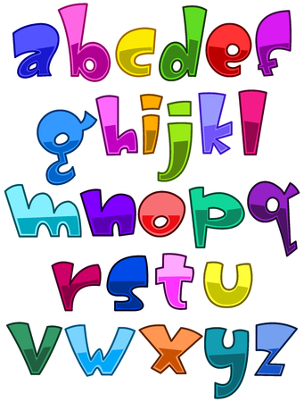 lower case: Bright cartoon lower case alphabet set