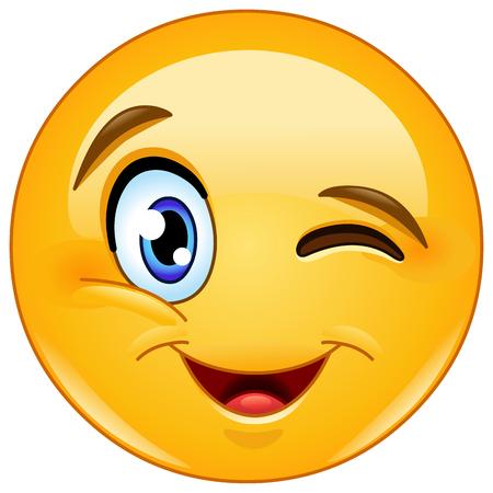 Blinzeln und Emoticon lächelnd Standard-Bild - 56999450