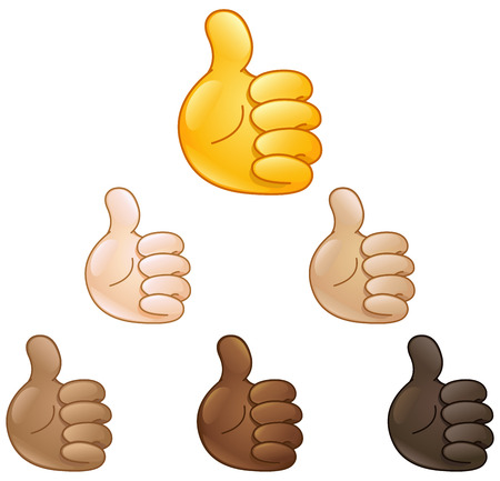 skin tones: Thumbs up hand emoji set of various skin tones