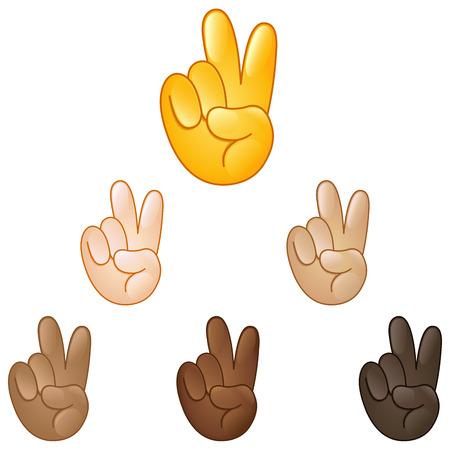 Victory hand emoji set of various skin tones  イラスト・ベクター素材