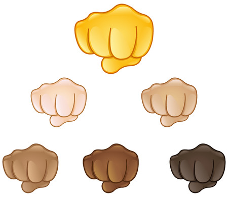 Fisted hand sign emoji set of various skin tones Vectores
