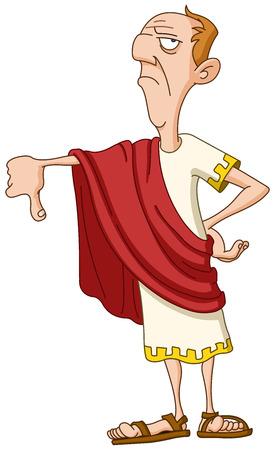 Roman emperor showing thumb down