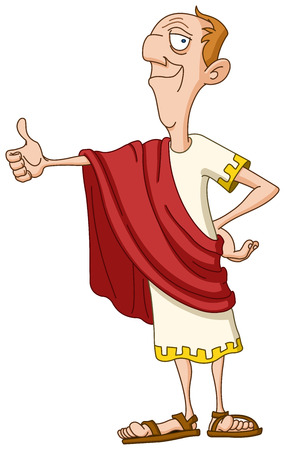 Roman emperor showing thumb up