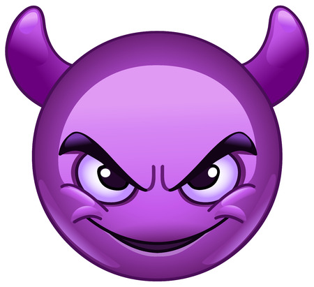 malice: Smiling face with horns. Purple devil emoticon.