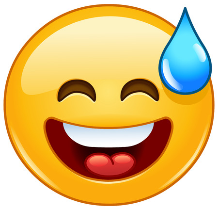 cold water: Smiling emoticon with open mouth and cold sweat Stock Photo