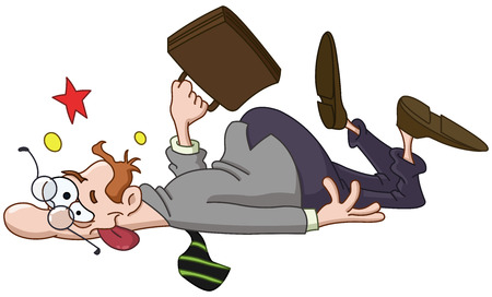 Businessman slipping and collapsed on the ground Ilustracja