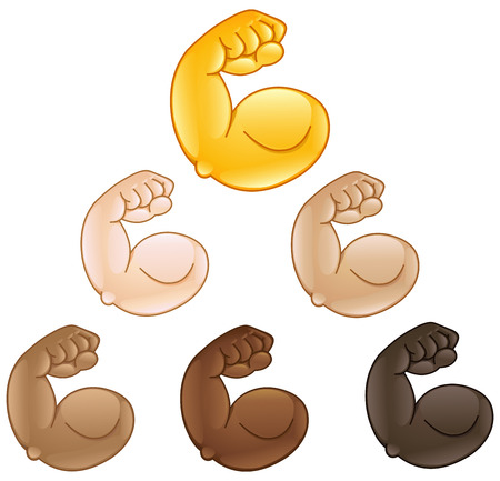 Flexed biceps hand emoji of various skin tones Illustration