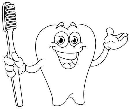 is outlined: Outlined cartoon tooth holding a toothbrush. Illustration