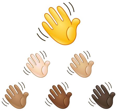expresion corporal: Agitando la mano set signo emoji de diferentes tonos de piel