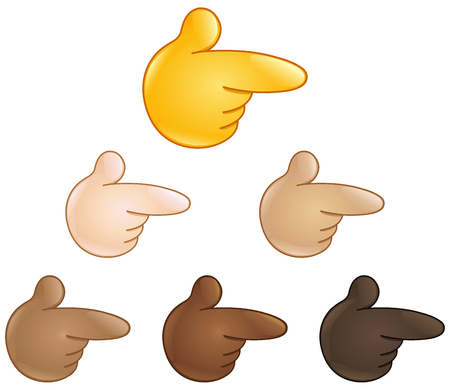 right hand: Right pointing backhand index. Emoji hand set of various skin tones.
