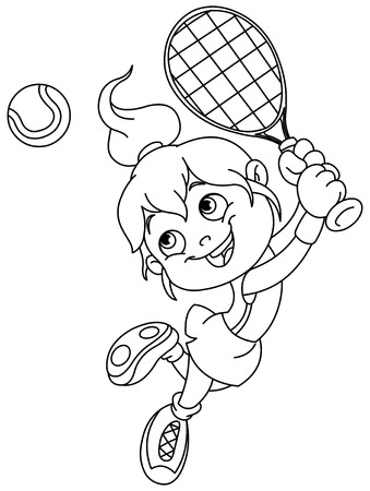 Outlined young girl playing tennis.