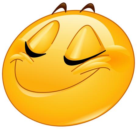 Vrouw emoticon lachend met gesloten ogen