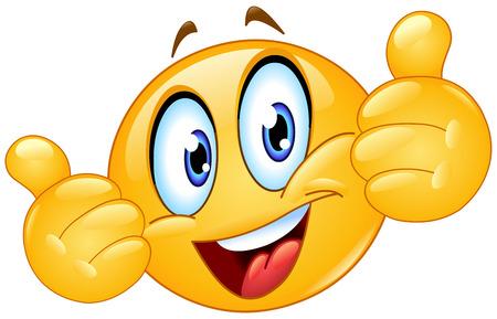 s úsměvem: Emotikon ukazuje palec nahoru