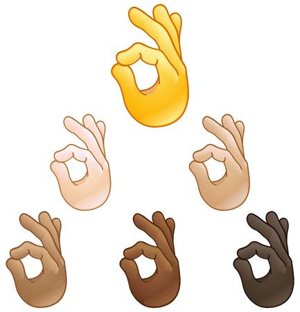 Ok hand sign emoji set of various skin tones