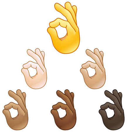 Ok hand sign emoji set of various skin tones