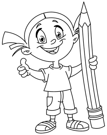 hand pen: Outlined young girl holding a big pencil and showing thumb up.