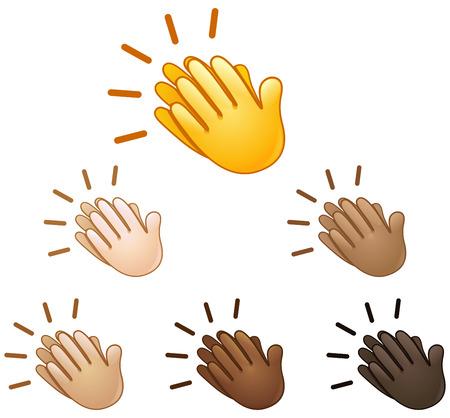amarillo y negro: Las manos aplaudiendo set signo emoji de diferentes tonos de piel Vectores