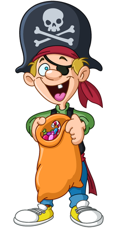 costume eye patch: Halloween kid in a pirate costume holding trick or treat bag full of candy Illustration