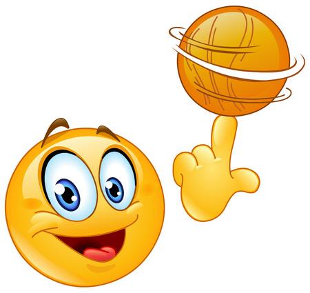 彼の指にバスケット ボールの回転の絵文字  イラスト・ベクター素材