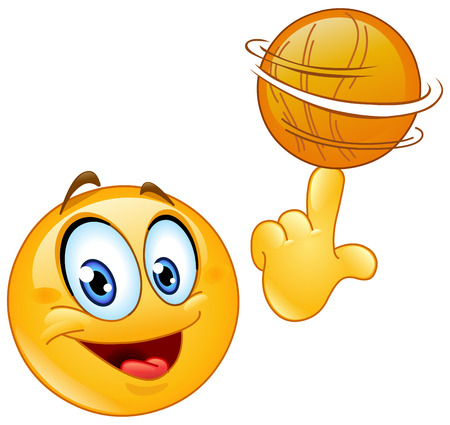 Emoticon spinning a basketball on his finger Vectores