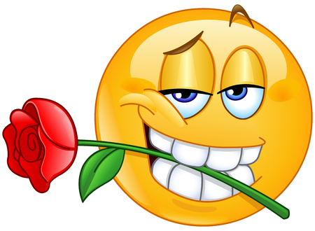 Charming emoticon holding red rose flower between teeth in mouth