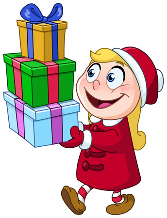 Young girl carrying stack of Christmas gift boxes Illustration