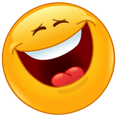 laughing out loud: Emoticon laughing out loud with closed eyes Illustration