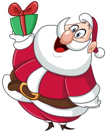 carrying box: Happy fat Santa clause carrying a small Christmas gift box Illustration