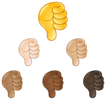 Thumbs down hand sign emoji set of various skin tones