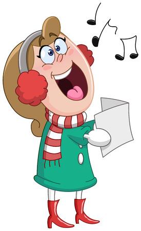 carols: Woman singing Christmas carols