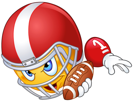 foot ball: American football player emoticon with ball