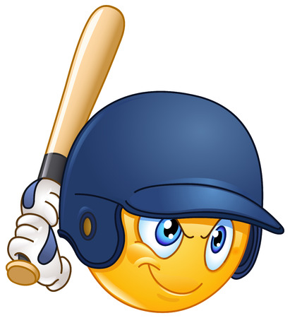 Baseball batter or hitter player emoticon Ilustrace