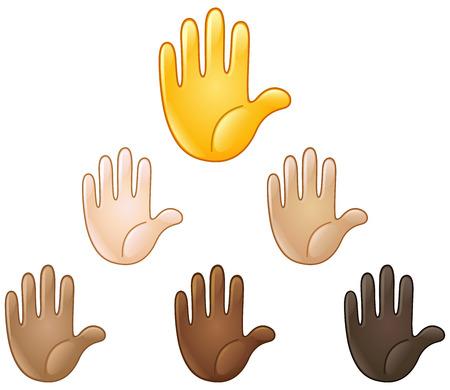 다양한 피부 색조의 핸드 이모티를 올렸습니다. 중지 또는 높은 5 기호.