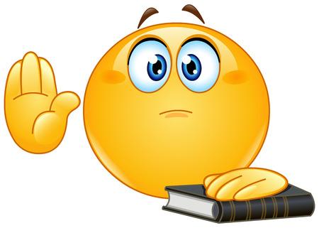 Emoticon die eed of vloeken. Het verhogen van zijn hand en legt de andere hand op een heilig boek. Stock Illustratie