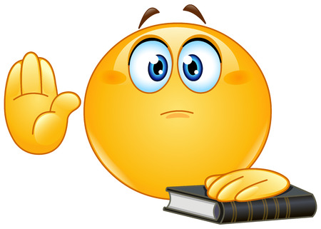 Emoticon taking oath or swearing. Raising his hand and put the other hand on a holy book. Vectores
