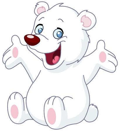Happy white teddy bear raising his arms