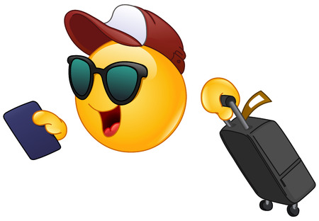 Hurrying Air traveler emoticon holding his passport and dragging a suitcase Vectores