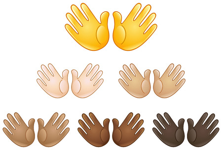 Öffnen Sie die Hände Zeichen Emoji verschiedener Hauttöne Vektorgrafik