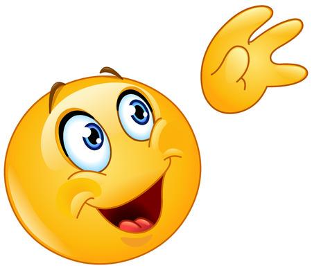 hi five: Emoticon waving up to the sky Illustration