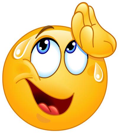 agotado: Emoticon secándose el sudor con la mano una sensación de alivio Vectores