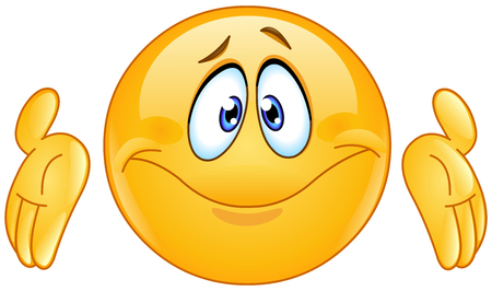 Puzzled emoticon with shrugs shoulders expressing luck of knowledge. Don�t know gesture. Иллюстрация