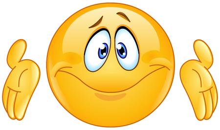 Verbaasd emoticon met haalt zijn schouders schouders uitdrukken geluk van kennis. Donat weten gebaar.
